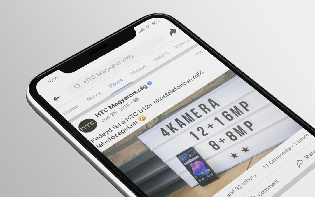A HTC magyarországi Facebook oldalának teljes körű kezelése